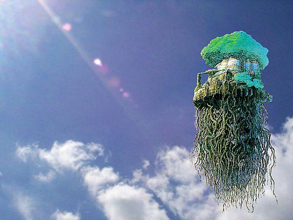Recreación artística de la isla voladora de «Laputa» aparecida en «Los Viajes de Gulliver»: un moderno Vimana.