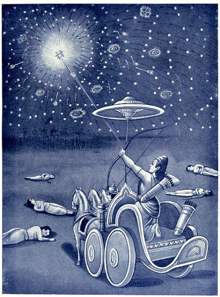 Ilustración del Mahabharata: Ashwatthama disparando el Narayanastra.