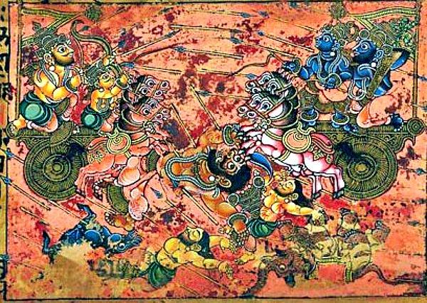 Escena del Mahabharata en la que Karna (a la izquierda), maestro en el manejo de los Astras, mata a Ghatotkacha utilizando el Shakti, un tipo de astra.
