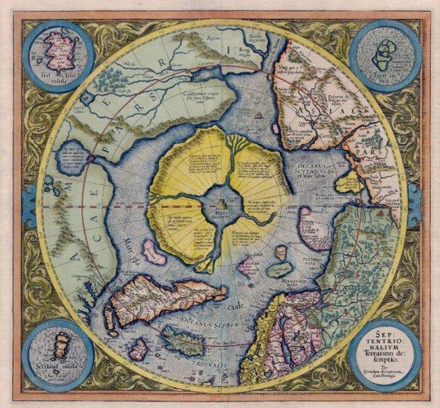 El continente ártico o Hyperborea tal y como aparece en le Atlas de Gerardus Mercator de 1595