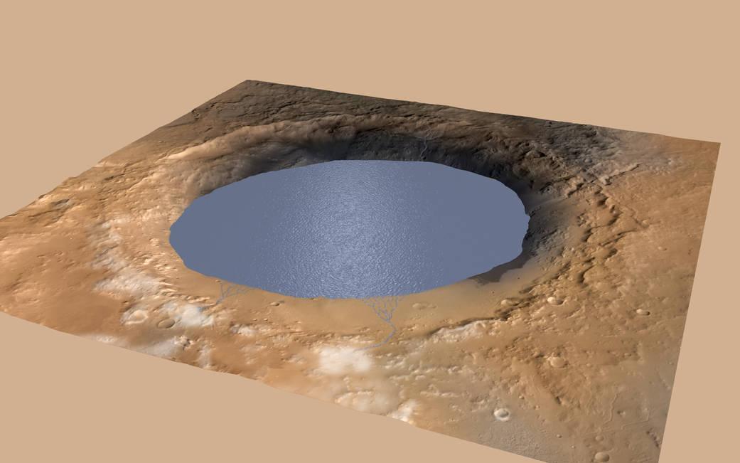Imagen generada por ordenador que muestra el cráter Gale de Marte.