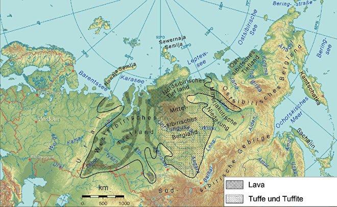 Extensión de las Siberia las escaleras siberianas creada por las masivas erupciones de finales del período Pérmico, hace 252 millones de años.