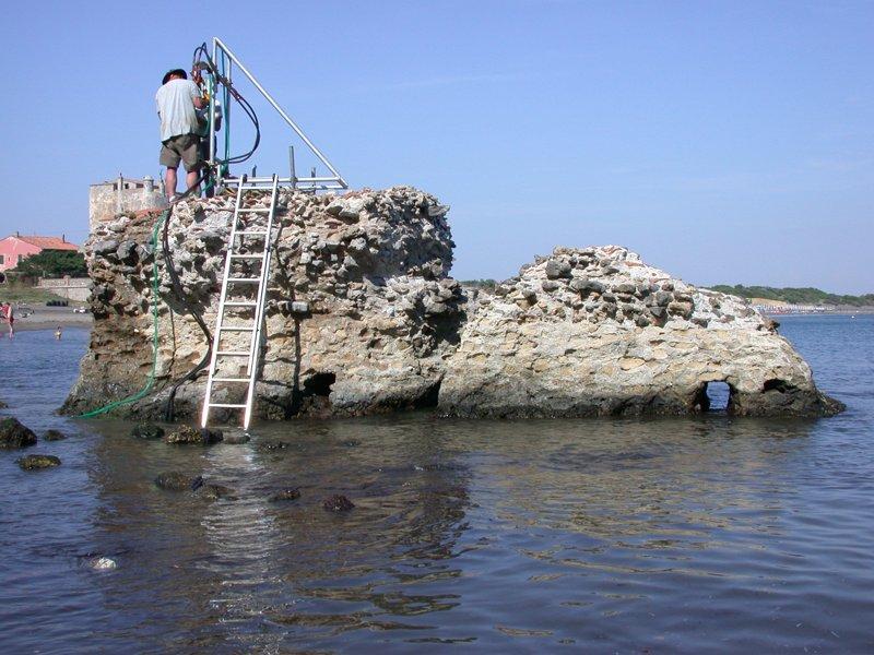 Perforación para muestras de hormigón romano en Toscana, 2003.