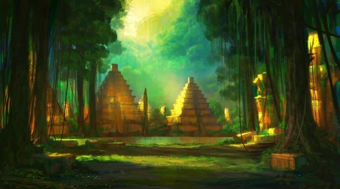 Ilustración de una antigua ciudad del Amazonas.