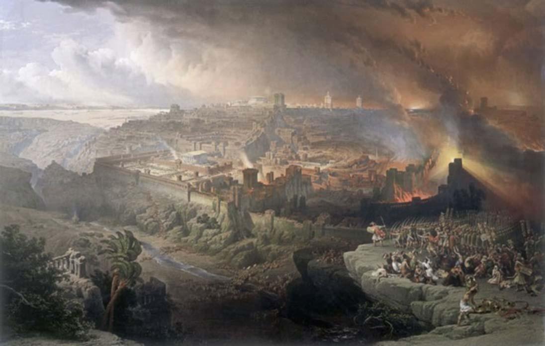 Asedio y destrucción de Jerusalén por los romanos bajo el mando de Tito, 70 d. C. Óleo de David Roberts, 1850