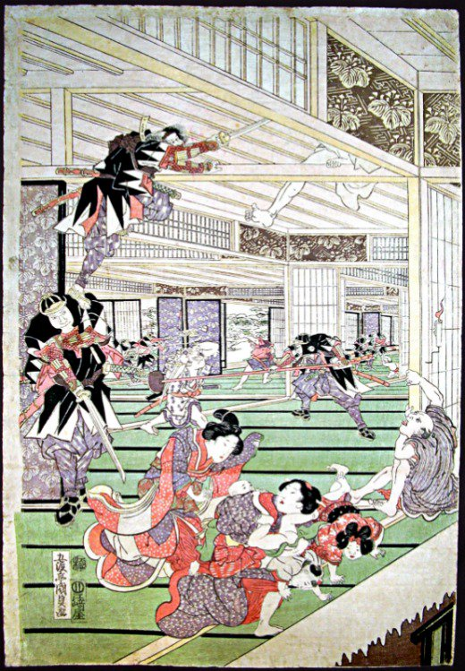 Chushingura/47 Ronin; ataque a la casa del señor Kira; panel izquierdo de un tríptico. Impresión en color sobre madera realizada por Utagawa Kunisada (1786-1865). Colección privada de la familia Wittig.