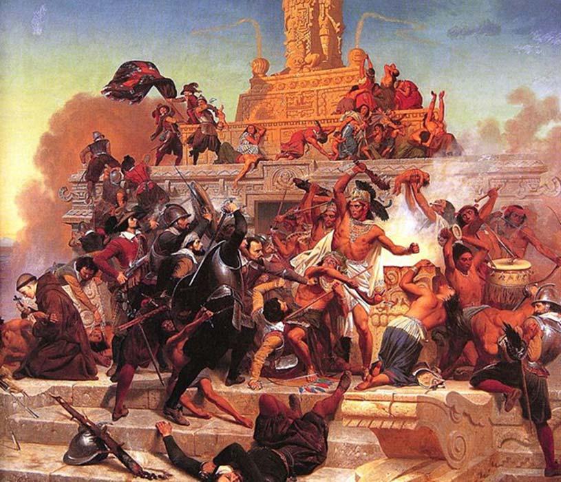 Cortés y sus soldados, protegidos con robustas corazas, se abren camino en Tenochtitlán