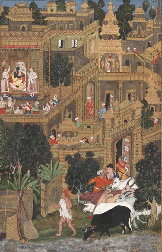 Krishna en Dwaraka. Imagen del texto Harivamska del 1600.
