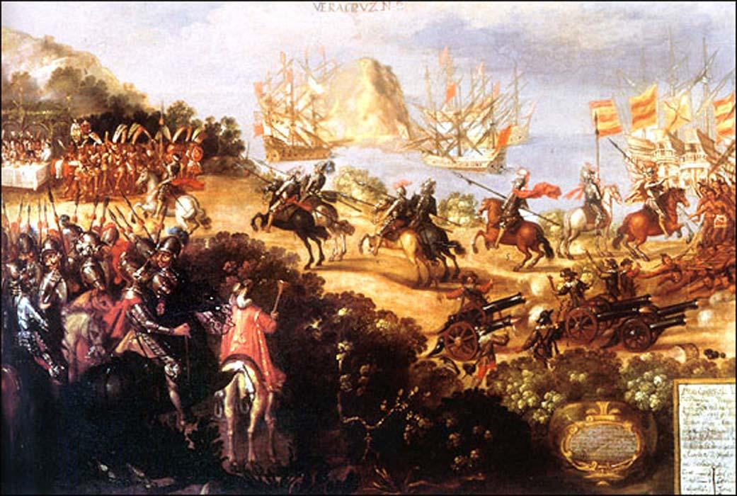 Llegada de Cortés a Veracruz y recepción por parte de los embajadores de Moctezuma