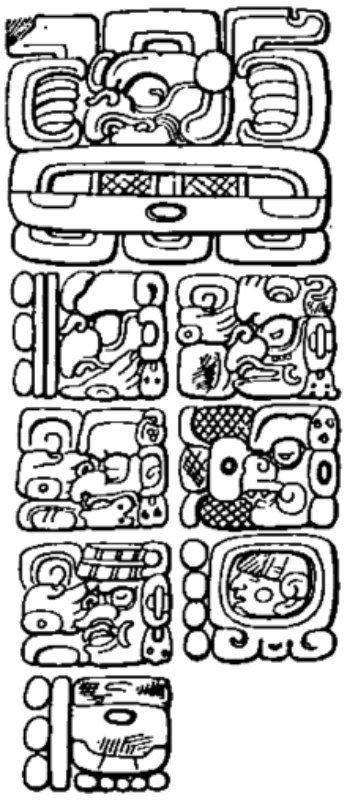 Cara este de la estela C de Quiriguá, con el mítico dato del inicio de la cuenta larga en el 13 (0) baktun, 0 katun, 0 tun, 18 (0) uinal, 0 kin, 4 ahau y 8 cumku, correspondiente al 11 de agosto del año 3114 a. C. del calendario gregoriano.