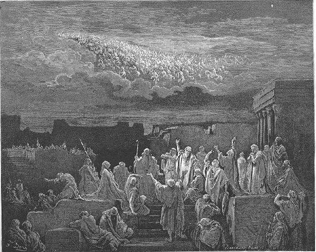 Legiones celestiales, grabado de Gustave Doré