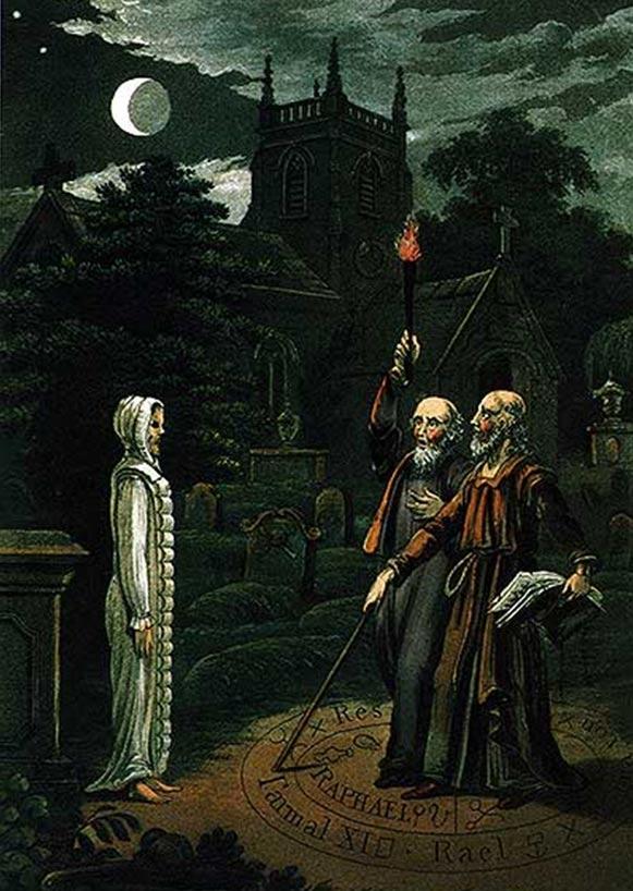Necromancia: El arte de conjurar a los muertos y comunicarse con ellos, imagen de John Dee y Edward Kelley. De: Astrology (1806) por Ebenezer Sibly.