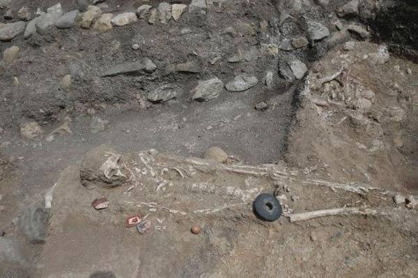 Restos óseos hallados en el yacimiento arqueológico de Montegrande.
