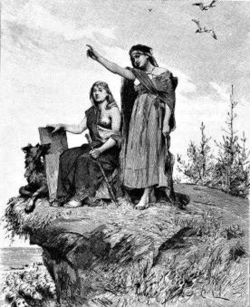 La vidente de Völuspá, dibujo realizado por Carl Larsson para la versión sueca de la Edda poética de 1893, traducida por Fredrik Sander.