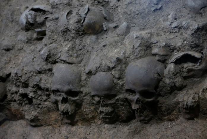 Los cráneos que pueden verse en el sitio donde más de 650 cráneos se cuajan en cal y miles de fragmentos que fueron encontrados en el edificio cilíndrico cerca de Templo Mayor.