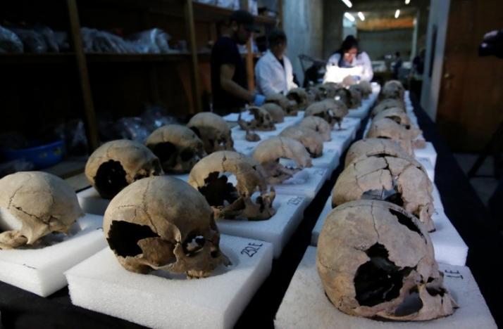 Antropólogos biológicos del Instituto Nacional de Antropología e Historia (INAH) examinan los cráneos descubiertos en un sitio donde se encontraron más de 650 cráneos en cal y miles de fragmentos en el edificio cilíndrico cerca del Templo Mayor.