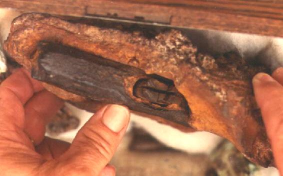 Vista superior de la cabeza del martillo.