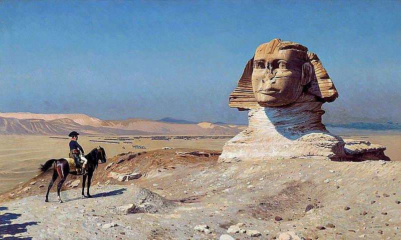 Napoleón contemplando la Gran Esfinge, semienterrada por las arenas del desierto. Óleo de Jean-Léon Gérôme (1867-1868).