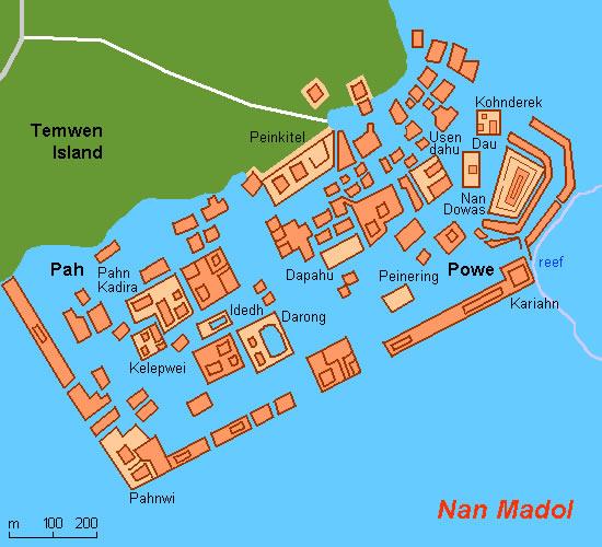 Nan Madol. Mapa de la ciudad artifical que posiblemente esconde una ciudad perdida bajo las aguas.