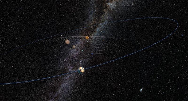 La impresión de un artista sobre el desconocido objeto de tamaño planetario en el Cinturón de Kuiper