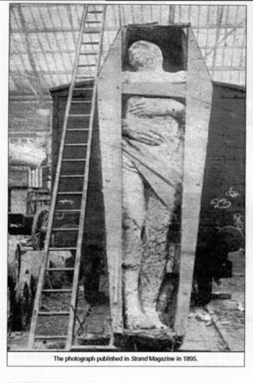 Un gigante descubierto en el condado Antrim, en Irlanda. Su estatura era de 12.12 pies. Circunferencia del pecho, 6.6, y longitud de sus brazos 4,6 pies. Hay seis dedos de sus pies en el pie derecho. Muchos de los gigantes descubiertos tienen un dedo extra en las manos y en los pies. Era una característica común de los gigantes. (Fotografía de la revista British Strand de Diciembre de 1895.)