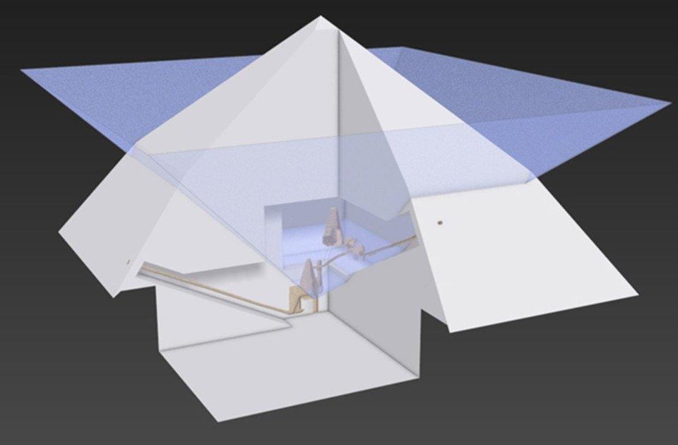 Este gráfico muestra el interior de la pirámide doblada, que contiene túneles ocultos