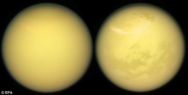 A pocos días de su fase de misión de Grand Finale, la sonda espacial Cassini de la Nasa ha enviado imágenes impresionantes de la luna más grande de Saturno, Titan. La superficie de Titán se puede ver en detalle increíble, así como la atmósfera cambiante de la luna