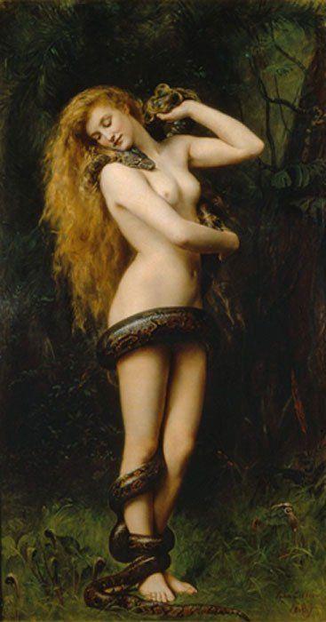 Lilith (1892), óleo de John Collier expuesto en la Galería de Arte Atkinson, Street (Inglaterra).