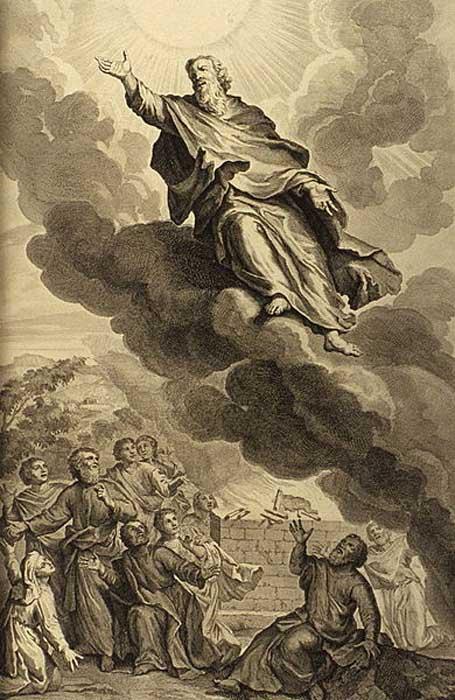 Génesis 5,24: «Enoc anduvo con Dios, y desapareció porque Dios se lo llevó» (Biblia de Jerusalén) Ilustración del libro de 1728 «Figuras de la Biblia». Enoc fue el séptimo de los patriarcas antediluvianos.