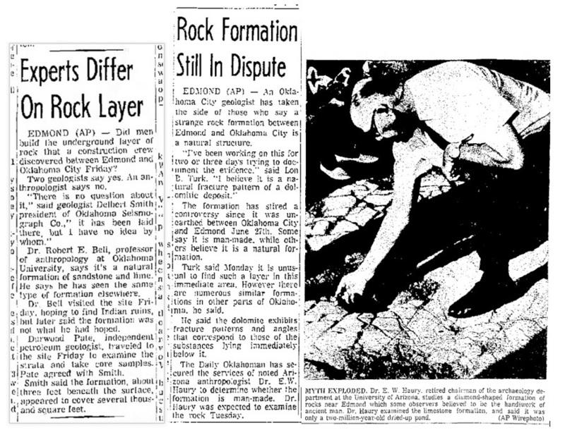 Aquí hay tres recortes de The Lawton [Oklahoma] Constitution del verano de 1969 (6/29/69, p.4A, 7/8/69, p.18, 7/10/69, p.5A) que describen las diferencias de opinión sobre la naturaleza de este descubrimiento (geológico).