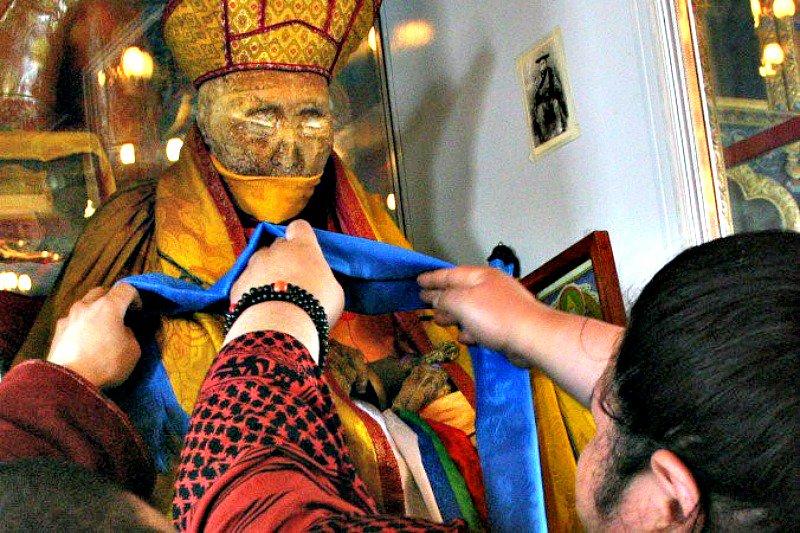 Aspecto del monje budista Dashi-Dorzho Itigelov, fallecido hace casi un siglo.