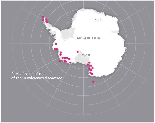 Ubicación de los 91 volcanes encontrados.