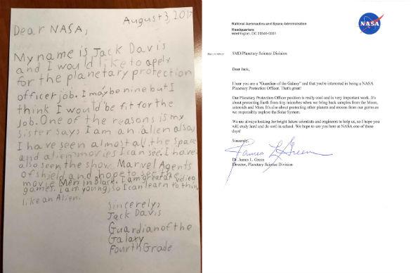 La carta de Jack Davis y la respuesta de la NASA, Green.