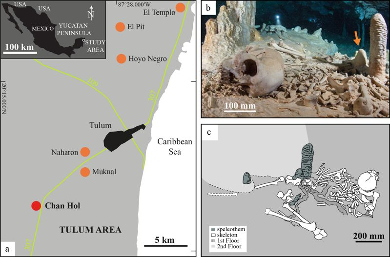 Ubicación de cuevas sumergidas que contienen restos óseos humanos en el área de Tulum, Quintana Roo, México