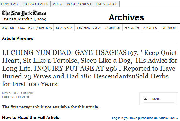 El obituario de Li Ching-Yuen publicado por el diario The New York Times.