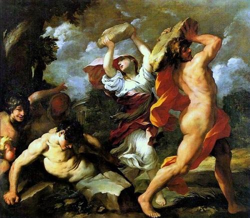 Pirra y Deucalión lanzando las piedras que darían origen a los hombres y mujeres.