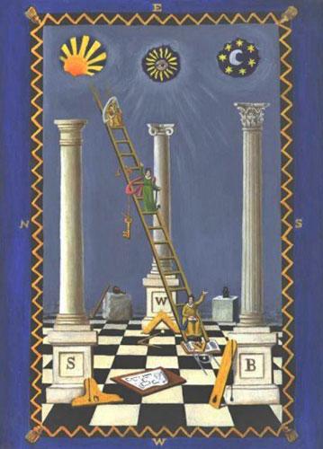 """A tablero con trazado masónico que retrata el sol por encima de la columna izquierda (que representa lo masculino), la luna sobre el pilar derecho (en representación femenina) y Sirius por encima de la columna del medio, que representa al """"hombre perfecto"""" o Horus, hijo de Isis y Osiris. Observe el """"Ojo de Horus"""" en Sirius."""