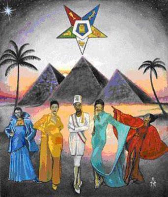 Arte OES que representa a Sirio por encima de la Gran Pirámide.