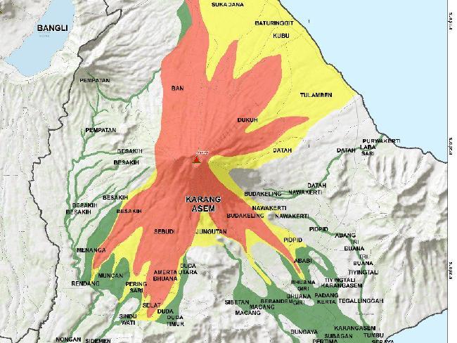 Este gráfico publicado por las autoridades indonesias representan las áreas con mayor riesgo de impacto de una erupción volcánica.