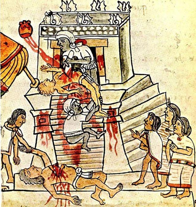 Sacrificios humanos en las ilustraciones del Códice Magliabechiano, folio 70.