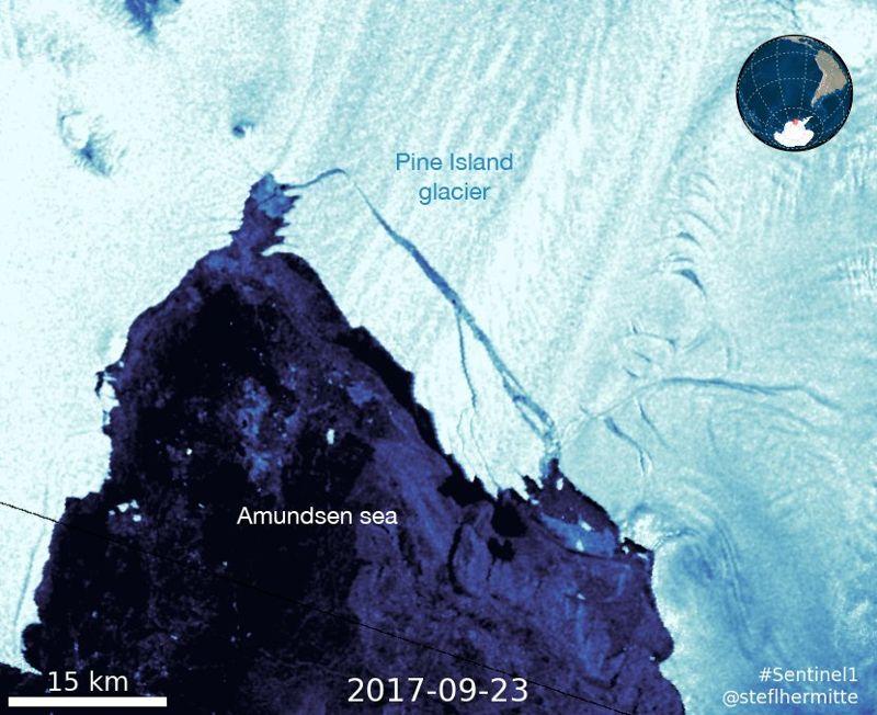 Imagen de satélite tomada del nuevo iceberg el 24 de septiembre de 2017