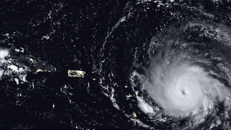 Huracán Irma visto desde un satélite