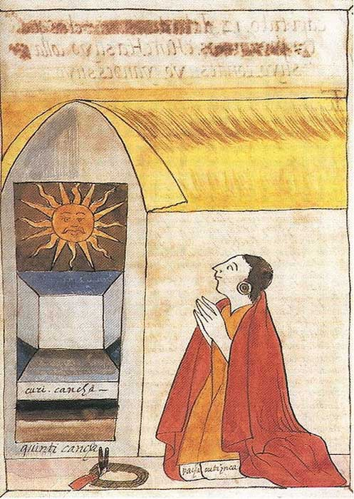 Ilustración del siglo XVII realizada por Martín de Murúa en la que podemos ver al inca Pachacútec rezando a Inti, el dios del Sol.