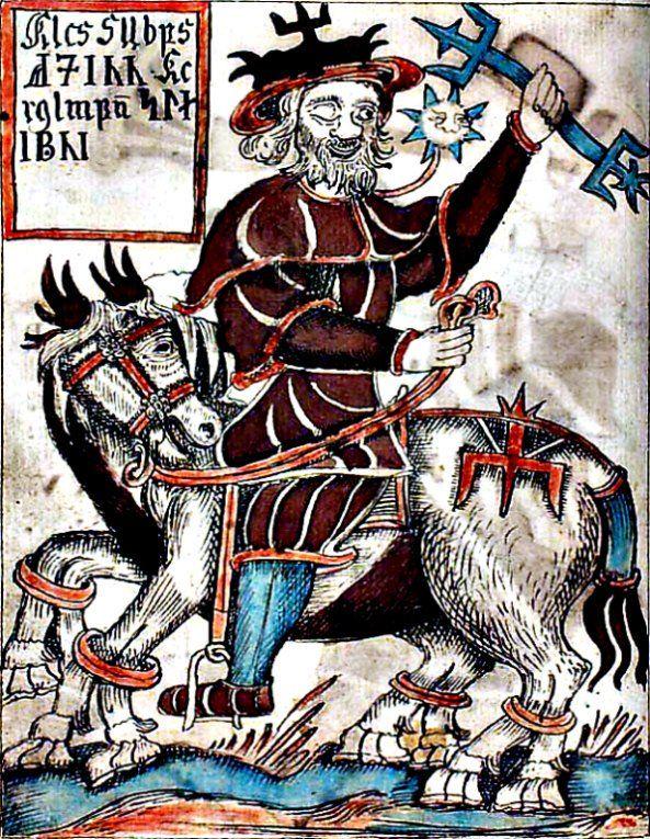 Odín sobre su caballo, Sleipnir. Ilustración de un manuscrito islandés del siglo XVIII. Biblioteca Nacional Danesa.