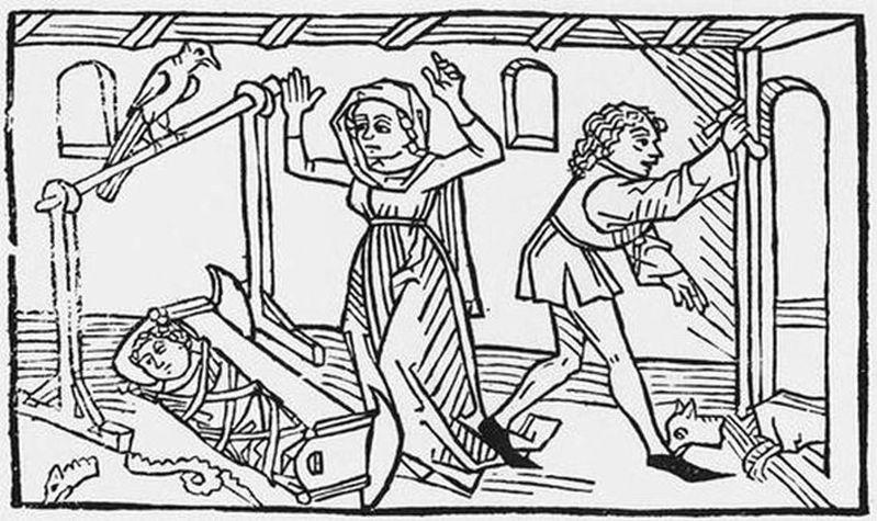 La serpiente yace hecha pedazos junto a la cuna del niño mientras el padre del pequeño decapita a Guinefort.
