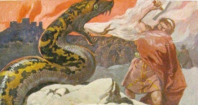 Escena de Ragnarök, la batalla final entre Thor y Jörmungandr. Ilustración de Emil Doepler para el libro: «Walhall, die Götterwelt der Germanen» Martin Oldenbourg, Berlín, pág. 56, publicado en el año 1905.