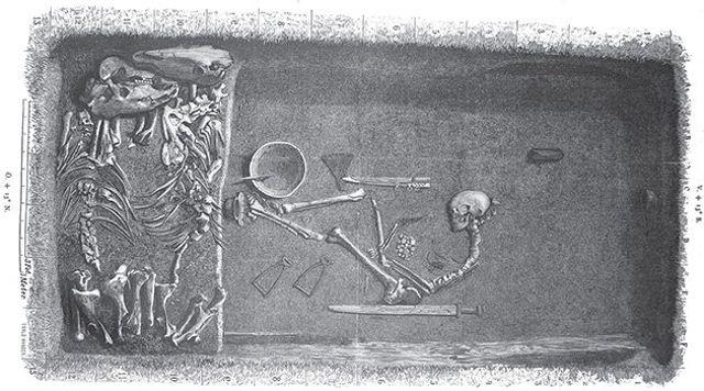 Ilustración de Evald Hansen basada en el plan original por el excavador Hjalmar Stolpe (1889).