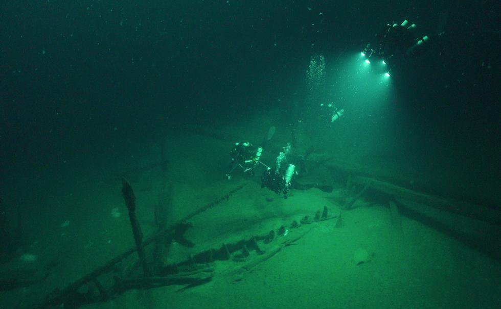 Galera romana descubierta por el equipo del proyecto.