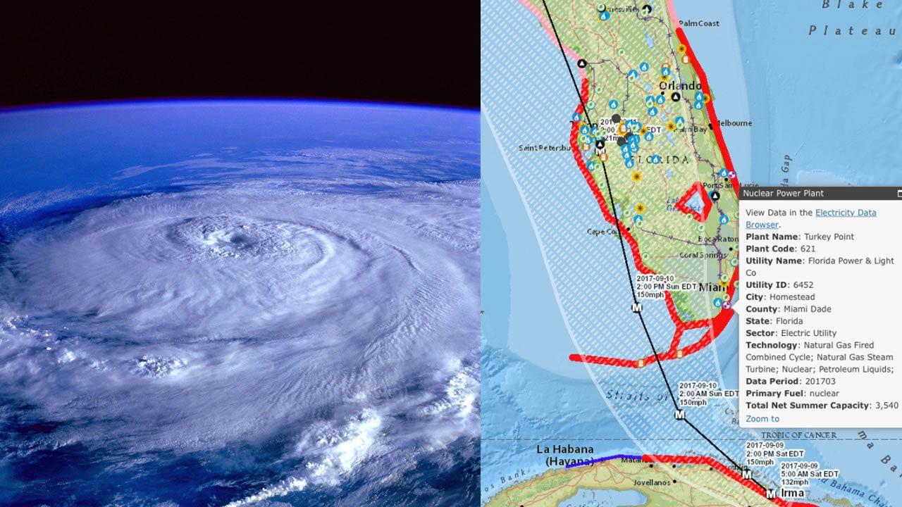 Huracán Irma se acerca a las plantas nucleares en Florida