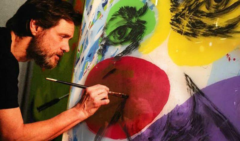 El actor en su faceta de artista. Carrey afirma que manifiesta  varios secretos en sus obras. Una manera de protestar sin ser callado.